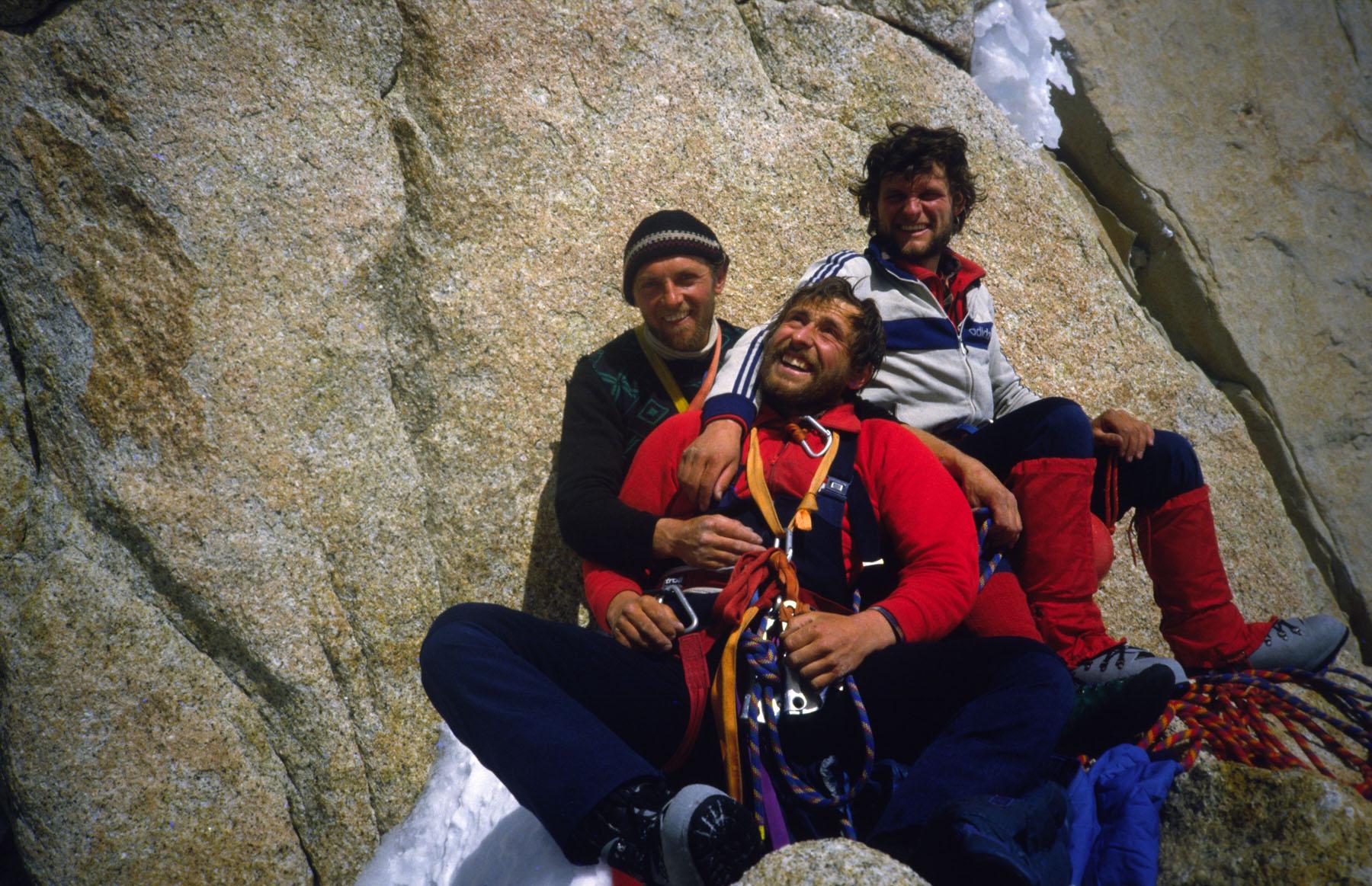Photo archive©Silvo Karo_Francek Knez, Silvo Karo and Janez Jeglič on  Fitz Roy_december 1983