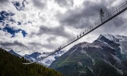 Opening of the world's longest pedestrian suspended bridge (494m) on the Europaweg in Randa, Switzerland, Friday July 28, 2017. (PHOTOVF/Valentin Flauraud)