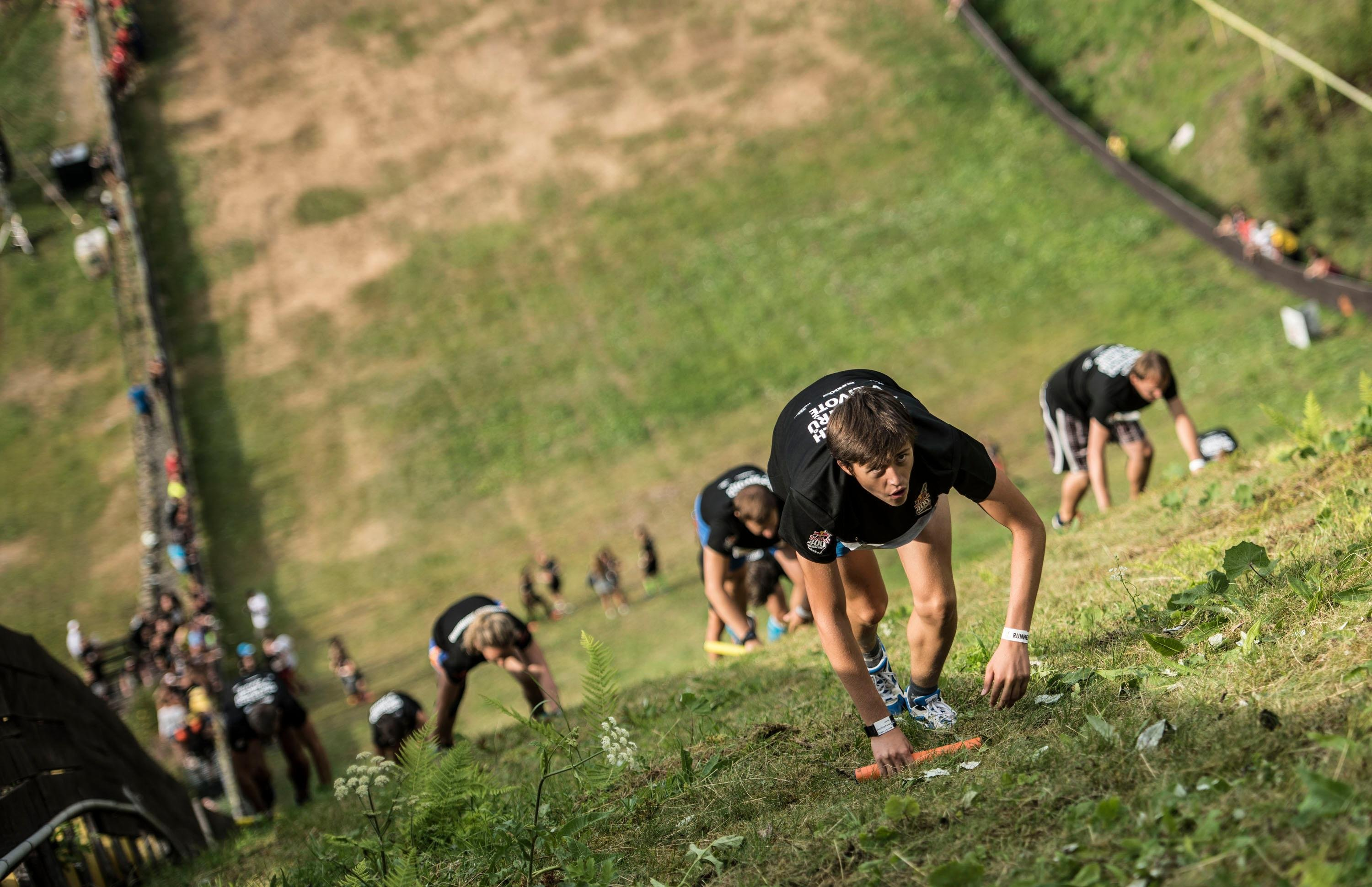 Competitors perform at the Red Bull 400 in Harrachov, Czech Republic on 15th September 2015