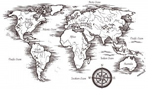 Sketch world map template in black and white colors with titles of continents and oceans vector illustration