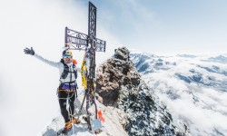 Brazilian ultrarunning athlete Fernanda Maciel is seen at the summit of the Matterhorn, on the Italian side and on its Lion Ridge on August 20, 2020. // Mathis Dumas / Red Bull Content Pool // SI202008270004 // Usage for editorial use only //
