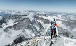 Brazilian ultrarunning athlete Fernanda Maciel is seen ascending to the summit of the Matterhorn, on the Italian side and on its Lion Ridge on August 20, 2020. // Mathis Dumas / Red Bull Content Pool // SI202008260172 // Usage for editorial use only //