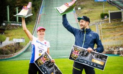Kristina Nec Lapinova and Jakub Siarnik are seen during the Red Bull 400 in Bischofshofen, Austria on October 3, 2020 // Philipp Riedl / Red Bull Content Pool // SI202010030075 // Usage for editorial use only //