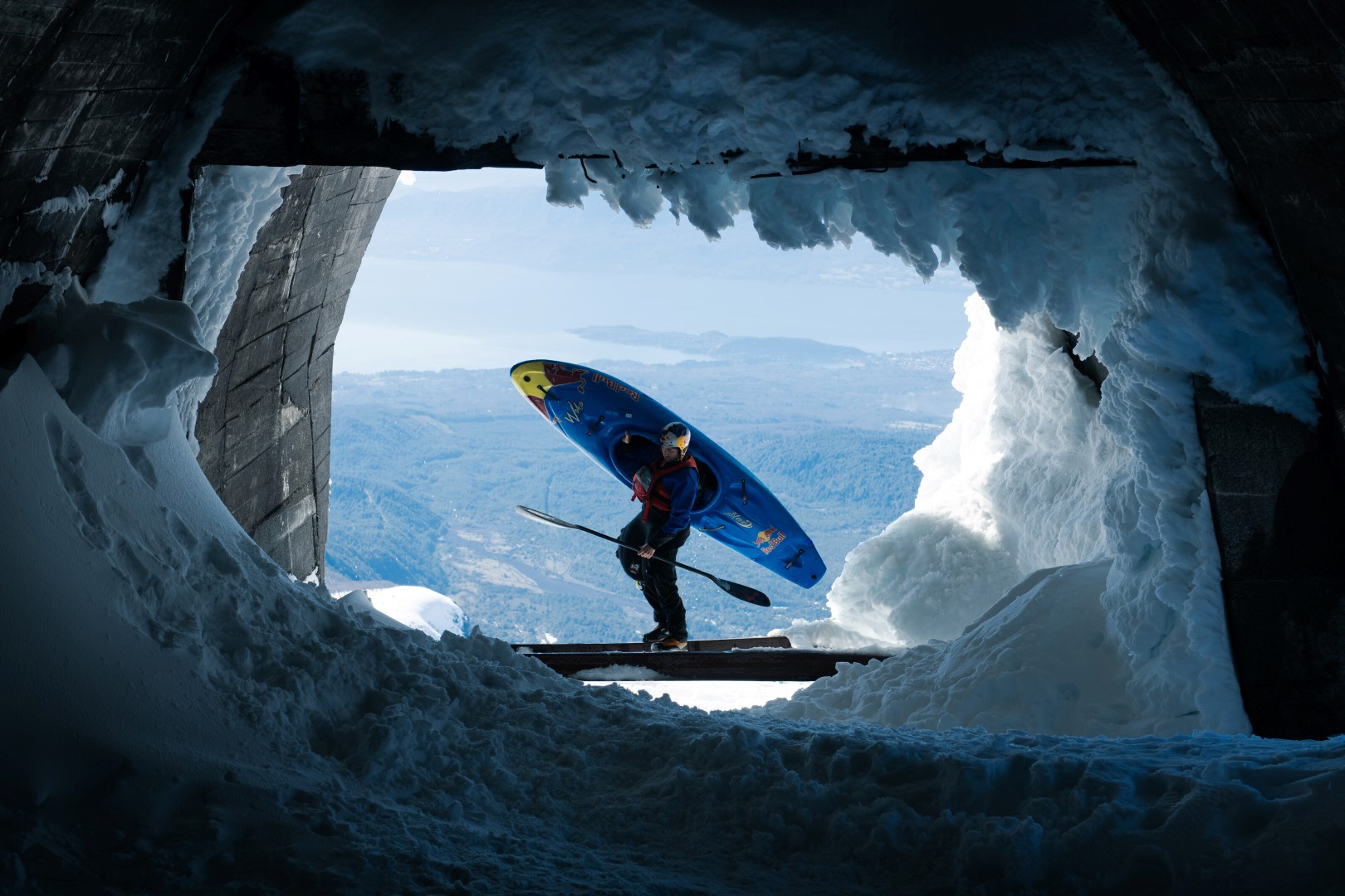 Aniol Serrasolses poses for a portrait during the Red Bull Snow Kayak project in Pucon, Region de la Araucania on September 14, 2020 // SI202103260903 // Usage for editorial use only //